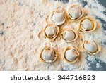 uncooked meat dumplings lies on ... | Shutterstock . vector #344716823
