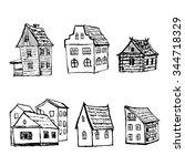 set of hand drawn  sketch... | Shutterstock .eps vector #344718329