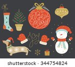 christmas icons and elements... | Shutterstock .eps vector #344754824