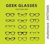 geek glasses vector icons set | Shutterstock .eps vector #344756606
