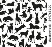 seamless pattern with dog... | Shutterstock .eps vector #344765120