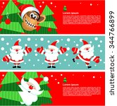 christmas cards with a monkey... | Shutterstock .eps vector #344766899