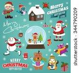 vintage christmas poster design ... | Shutterstock .eps vector #344790209
