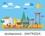 flat design  thai icons and... | Shutterstock .eps vector #344793524
