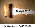 torn paper box with word budget ... | Shutterstock . vector #344799320
