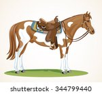 spotted western horse with... | Shutterstock .eps vector #344799440