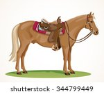 western horse with saddle and... | Shutterstock .eps vector #344799449