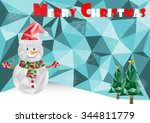polygonal merry christmas  | Shutterstock .eps vector #344811779