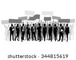 protest people crowd silhouette ... | Shutterstock .eps vector #344815619