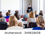 person delivering a speach.... | Shutterstock . vector #344818658