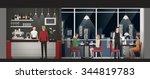 people having an exclusive... | Shutterstock .eps vector #344819783