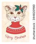 Hand Drawn Vintage Card With...