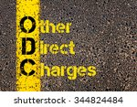 Small photo of Concept image of Accounting Business Acronym ODC Other Direct Charges written over road marking yellow paint line.