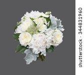 white peony and garden rose...   Shutterstock . vector #344831960