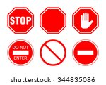 stop sign set  isolated on... | Shutterstock .eps vector #344835086