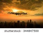 passenger jet plane flying over ... | Shutterstock . vector #344847500