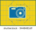 photo camera icon. blue outline ...