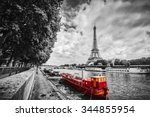 eiffel tower over seine river...   Shutterstock . vector #344855954