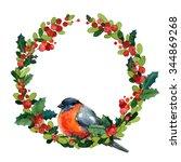 watercolor christmas wreath... | Shutterstock . vector #344869268