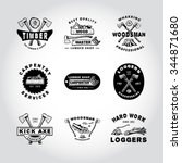 76 set of badge lumber... | Shutterstock .eps vector #344871680