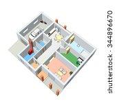 3d floor plan. vector... | Shutterstock .eps vector #344896670