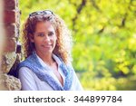 attractive woman with a... | Shutterstock . vector #344899784