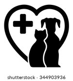 Stock vector black icon with dog and cat on heart silhouette for veterinary services 344903936