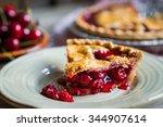 homemade cherry pie on rustic... | Shutterstock . vector #344907614