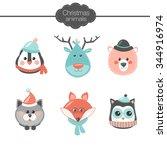 christmas set with cute cartoon ... | Shutterstock .eps vector #344916974
