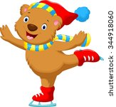bear on ice skates | Shutterstock .eps vector #344918060
