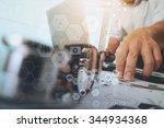 doctor working with laptop... | Shutterstock . vector #344934368