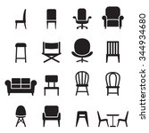 chair   seating icons set... | Shutterstock .eps vector #344934680