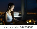 woman working with laptop... | Shutterstock . vector #344938808