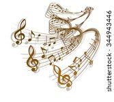 vector wave of musical notes... | Shutterstock .eps vector #344943446
