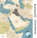 middle east and west asia map... | Shutterstock .eps vector #344954978