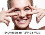 close up portrait of a smiling... | Shutterstock . vector #344957438