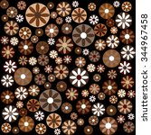 brown flowers and circles ... | Shutterstock . vector #344967458