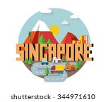singapore in asia is a...   Shutterstock .eps vector #344971610
