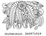 doodle floral illustration | Shutterstock .eps vector #344971919