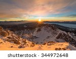 Stock photo vivid sunrise in the mountains a red morning in the julian alps 344972648