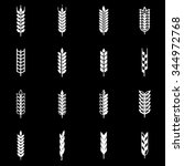 vector white wheat ear icon set. | Shutterstock .eps vector #344972768
