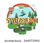 switzerland in europe is a... | Shutterstock .eps vector #344972993