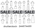 clothes sale black and white | Shutterstock .eps vector #344974499