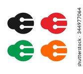 circuit letter e logo vector. | Shutterstock .eps vector #344977064