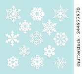 collection of vector snowflakes ... | Shutterstock .eps vector #344977970