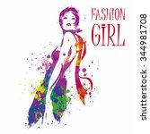 fashion girl in sketch style.... | Shutterstock .eps vector #344981708