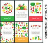 vector set of prepared cards on ... | Shutterstock .eps vector #344982578