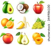 fruits icons detailed photo... | Shutterstock .eps vector #344986100