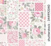 seamless floral patchwork... | Shutterstock .eps vector #344992040