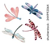 Watercolor Dragonfly Set...